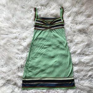 MISSONI GREEN COPPER BLUE STRIPED SUMMER DRESS